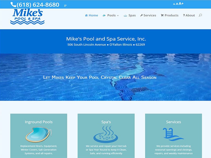 Mikes Pool and Spa Web Site Image